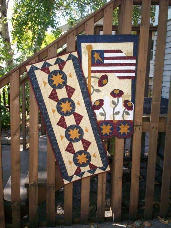 patriotic summer pieced and applique wall hanging and table runner