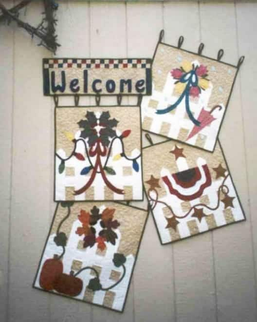 seasonal pieced and applique wall hanging