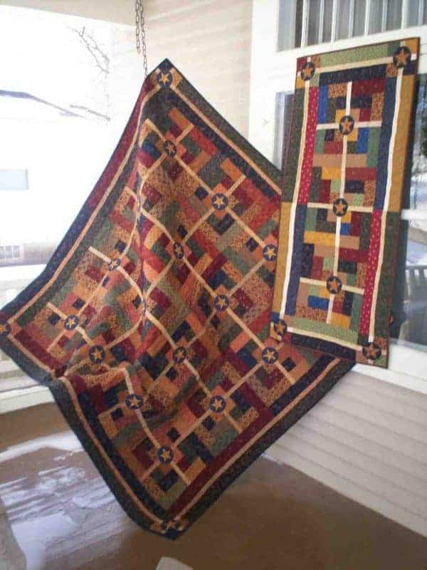 Jelly roll friendly scrappy lap quilt and table runner