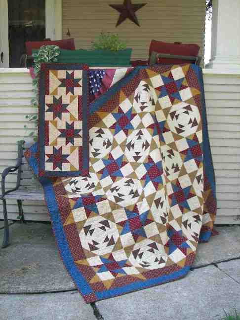 Scrappy stars table runner and lap quilt