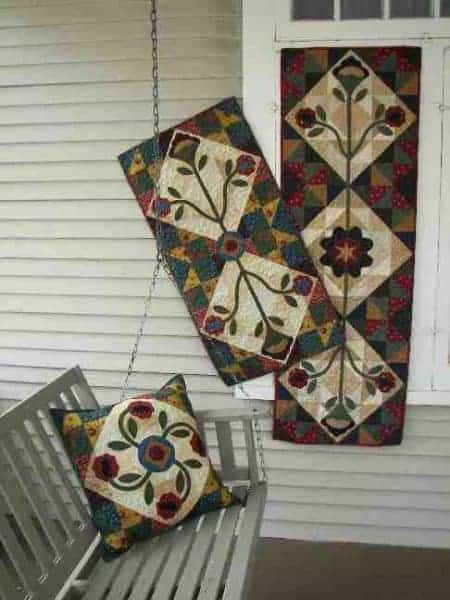 Scrappy pieced and applique runners and pillow patterns