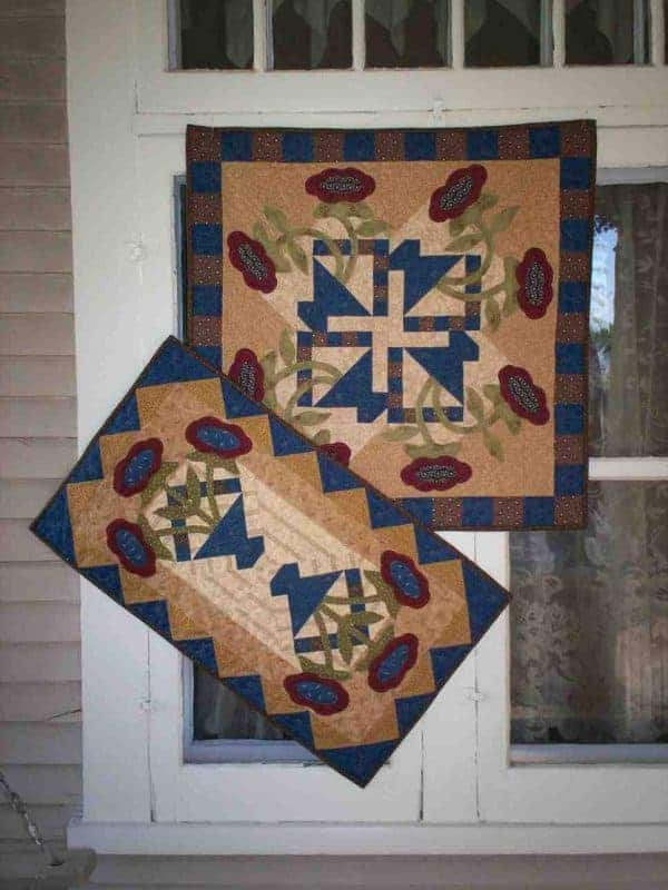 Spring pieced and applique wall hanging and table runner