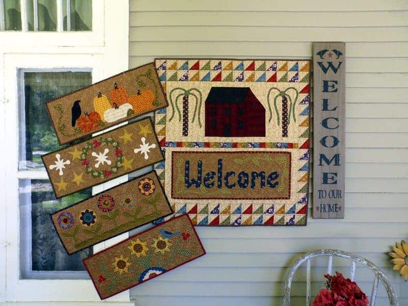 seasonal applique wall hanging panels salt box house