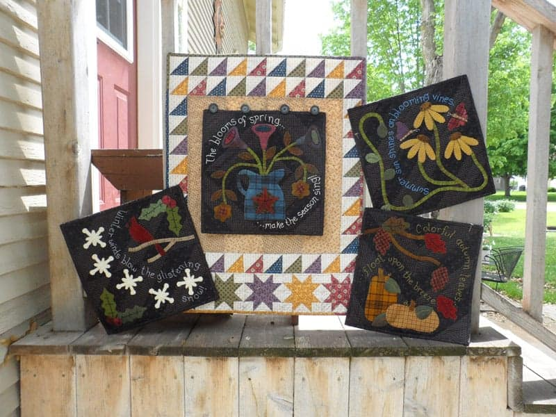 Seasonal wool applique panel pattern by Snuggles Quilts