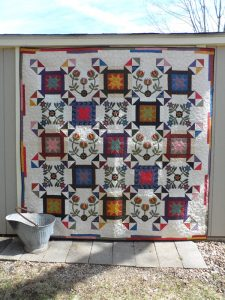 vintage inspired lap quilt scrappy pieced and applique