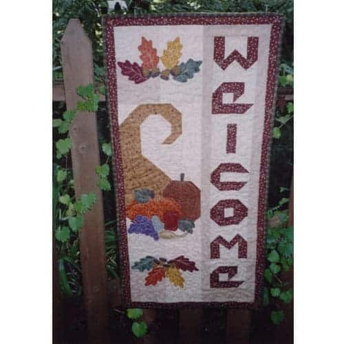 Thanksgiving cornucopia pieced and applique wall hanging